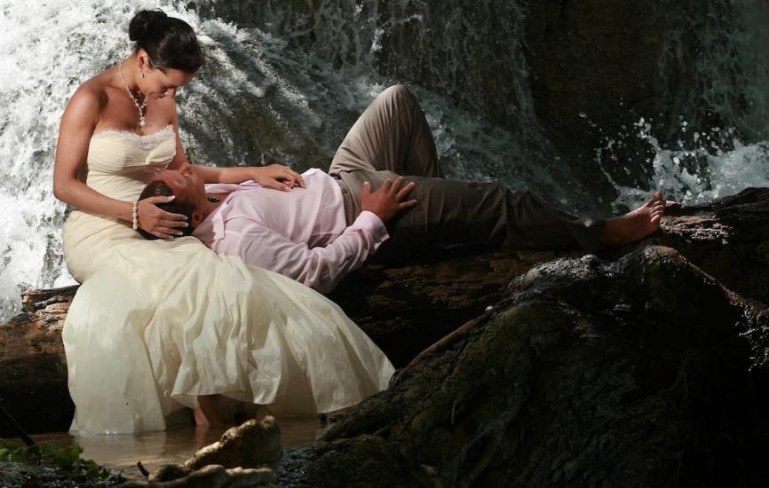 Trash the dress in waterfall - Wedding Photographers in Jamaica