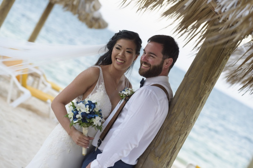 Bride and groom in the beach - Jamaica Wedding photography