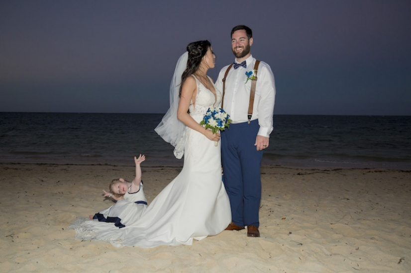 Bride and groom on the beach - Wedding Photographers in Jamaica